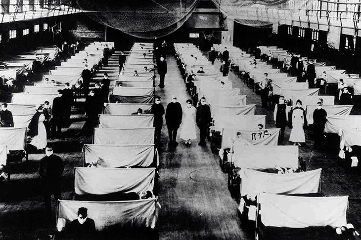 Warehouses were converted in 1918 to keep patients suffering from the flu pandemic in quarantine. Credit: Getty Images