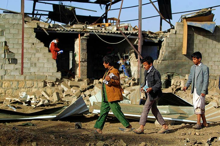 Yemen's capital Sana'a after another airstrike, where Aziz H's award-winning new play is set. Photo: Mohammed Huwais / AFP