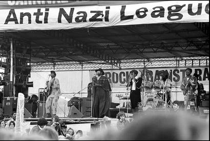 Steel Pulse perform at a concert organised by Rock Against Racism and the Anti-Nazi League at Victoria Park, Hackney in 1978.
