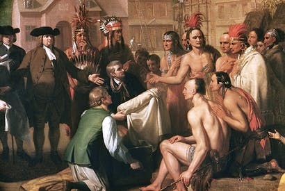 Detail of 'Penn's Treaty with the Indians' by Benjamin West. Though William Penn was celebrated for his humane treatment of Native Americans, his heirs swindled the Lenape out of a million acres of territory