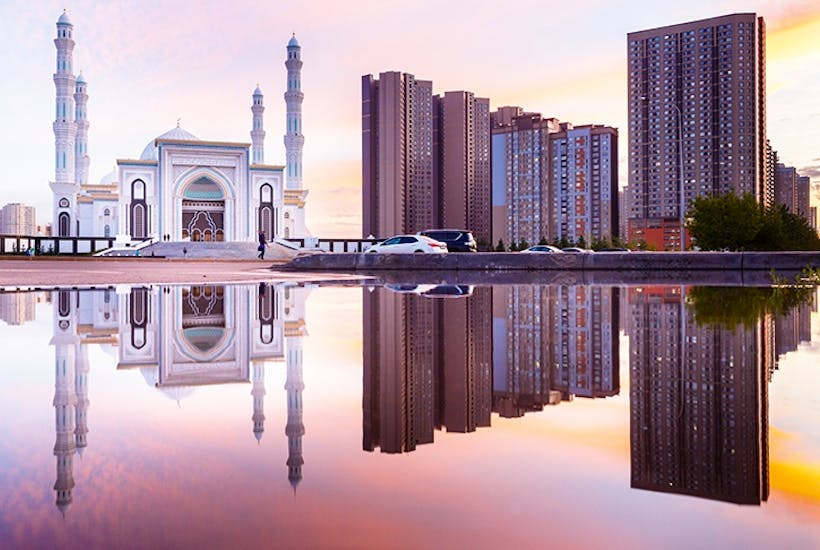 The Khazret Sultan Mosque in the sparkling new city of Astana, built at a breathtaking pace to replace Kazakhstan's former capital Almaty