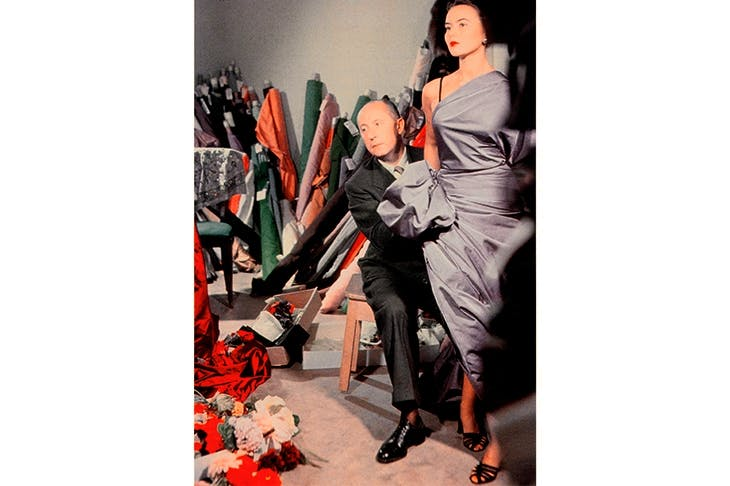 Scourge of puritans: Christian Dior with model Sylvie, c.1948