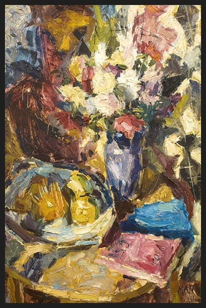 'Flowers, Book and Fruit on Round Table', 1961 by Cyril Mann Daisy Dunn