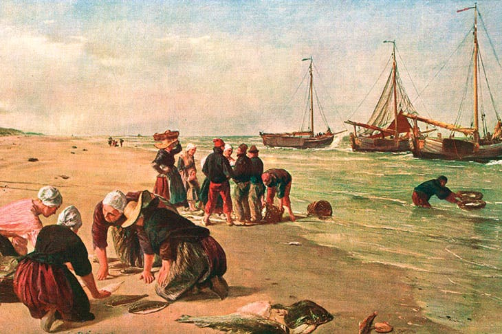 The catch from the Dogger Bank is landed on the beach at Schevingen from Dutch fishing vessels — or 'doggers'