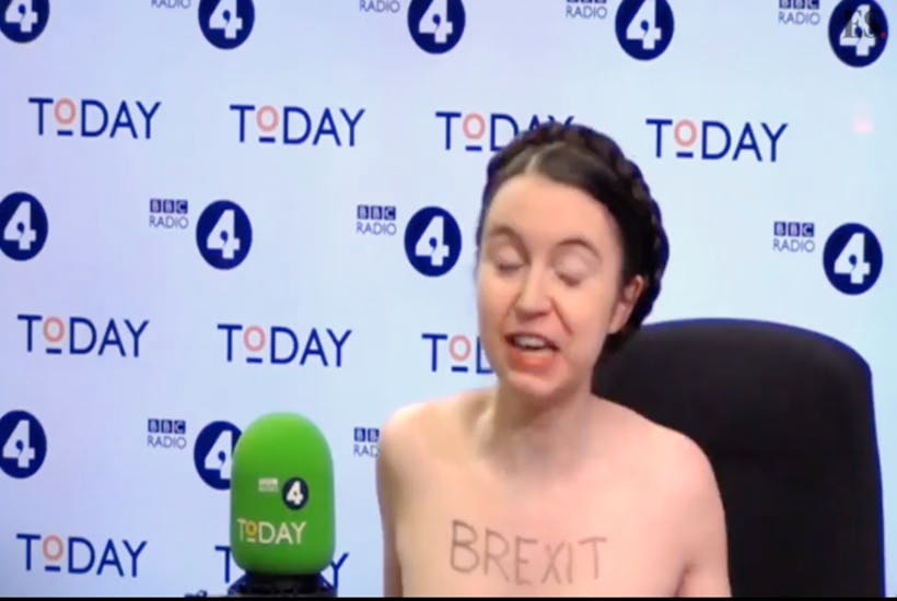 Naked Brexit protester Dr Victoria Bateman on the Today programme last week