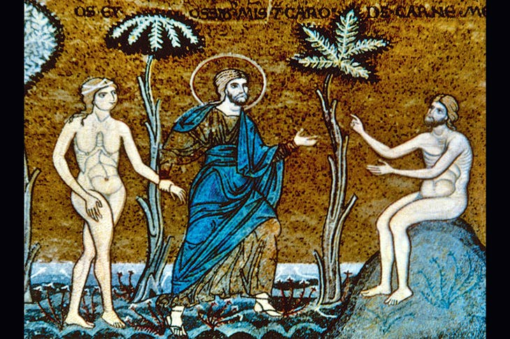 The creation of Adam and Eve, depicted in a 12th-century Byzantine mosaic from Monreale, Sicily