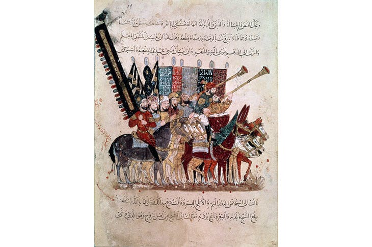 The final fanfare for the caliphs before the coming of the Mongol hordes. A manuscript miniature from al-Hariri's Maqamat, showing the caliph's mounted standard bearers