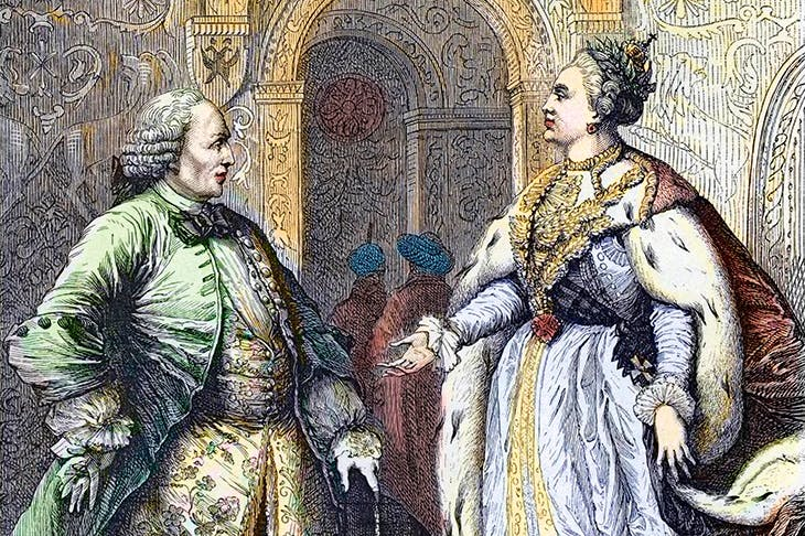 The outcome of Diderot's discussions with Catherine was that she largely ignored his advice. Engraving from François Guizot's Histoire de la France
