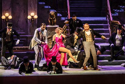 Sarah Tynan, Nicholas Lester and Andrew Shore in ENO's new Merry Widow. Photo: Clive Barda