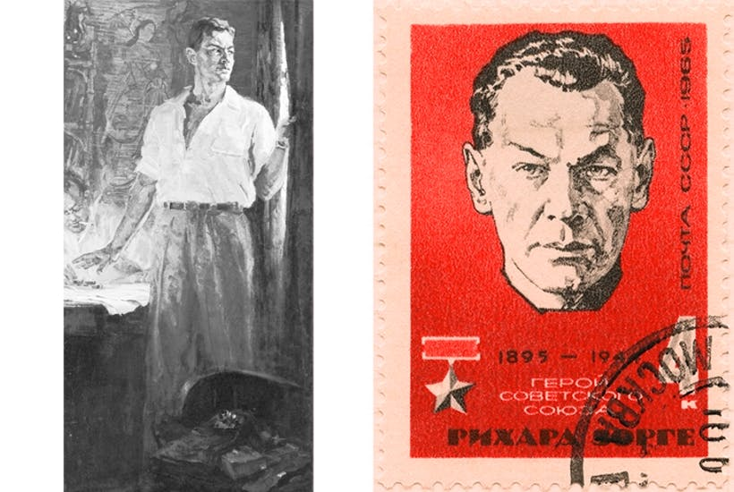 The seducer and the spy: left, a reproduction of Anatoly Gorpenko's portrait of the 'master spy';above, a Soviet commemorative stamp to mark Sorge's 'rehabilitation' in 1961