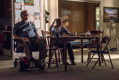 Francis Guinan (Fred) and K. Todd Freeman (Dee) in Downstate. Photo: Michael Brosilow