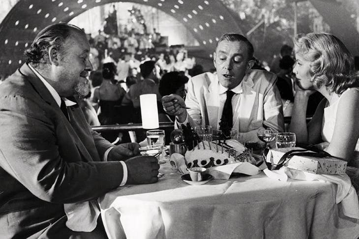 At the Tropicana nightclub: Dr Hasselbacher and Wormald celebrate with Milly on her 17th birthday. A scene from Carol Reed's film of Our Man in Havana with Burl Ives, Alec Guinness and Jo Morrow