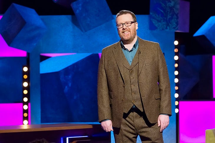 Frankie Boyle's New World Order, on which the comic is paid to say the totally and predictably sayable. Image: BBC/ Endemol Shine UK/ Brian J Ritchie