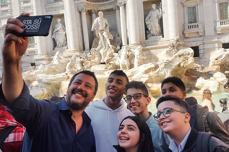 Matteo Salvini takes a selfie with five children who helped to save their classmates during the 20 March Milan bus attack
