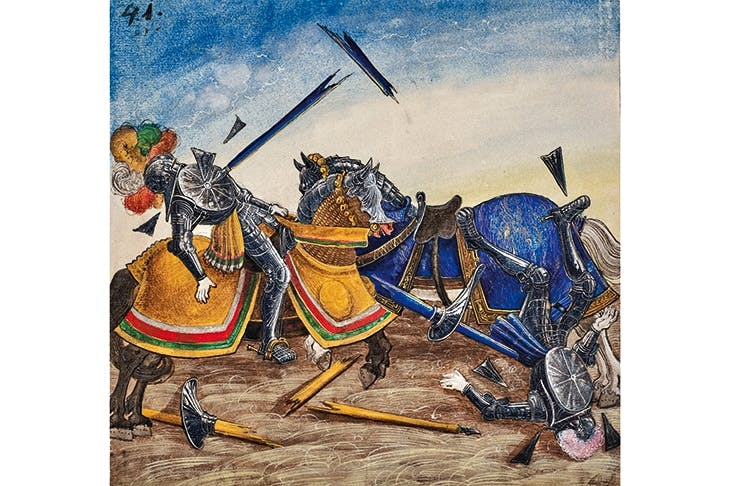 Lance encounters: a plate from The Book of Tournaments, Maximilian's remarkable encyclopedia of jousting