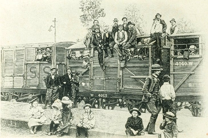Boer refugees were herded by the British into cattle trucks to be shunted into concentration camps at Bloemfontein in 1901. Credit: Alamy Stock Photo