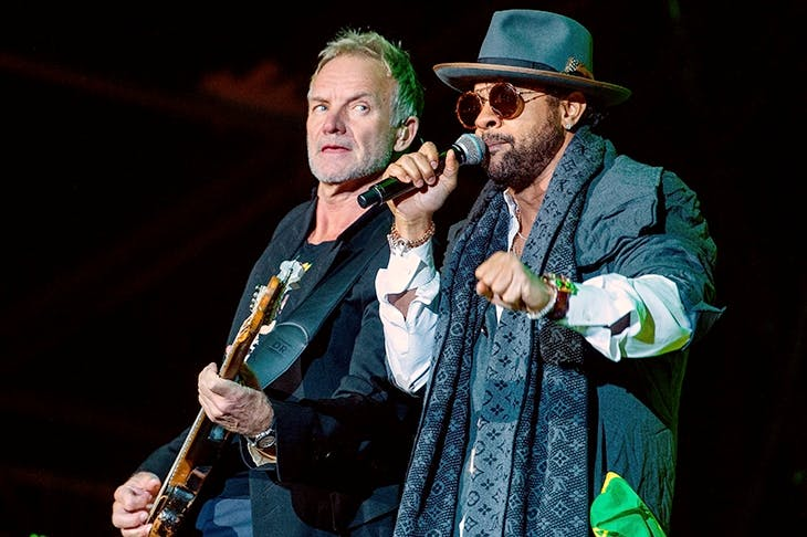 The odd couple: Sting and Shaggy on tour in 2018. Photo: Zoltan Balogh / EPA-EFE / Shutterstock