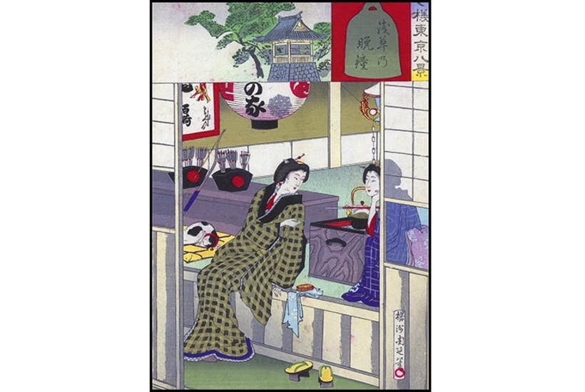 Two geishas relax after entertaining a client. Inset is the curfew bell at Asakusa, the major entertainment centre of old Tokyo. Woodblock print by Toyohara Chikanobu
