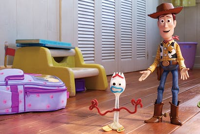 You've got a friend in me: Woody and Forky getting acquainted in Toy Story 4