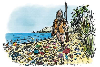 Robinson Crusoe gave up all hope of ever seeing another human footprint again