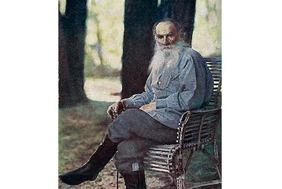 The only known colour photograph of Tolstoy — taken at Yasnaya Polyana in 1908 by Sergey Prokudin-Gorsky