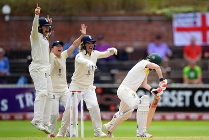England players celebrate a wicket as they battle Australia during the Women's Ashes in Taunton (Getty)
